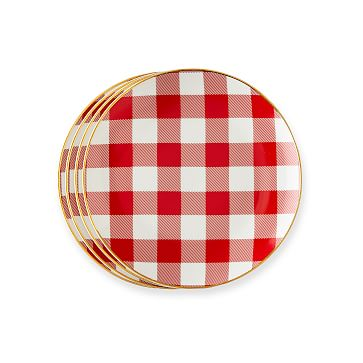 Ceramic Dessert Plates, Set of 4, Red Gingham