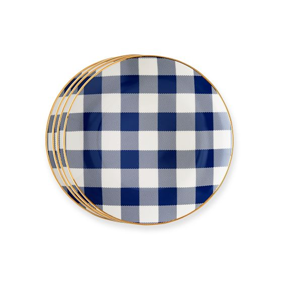 Set of 4 Gold Rimmed Dessert Plates, 8.25 inches, Navy Gingham