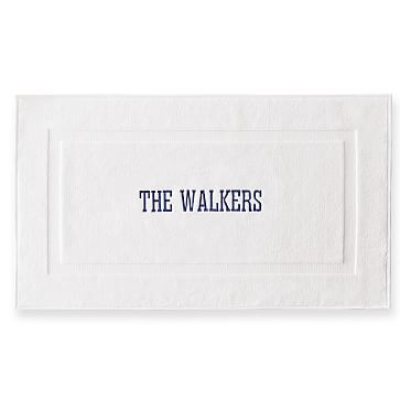 Thick White Bath Mat, White, Personalized