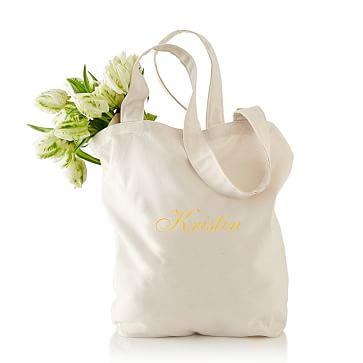 Simple Cotton Tote, Natural Canvas, Personalized