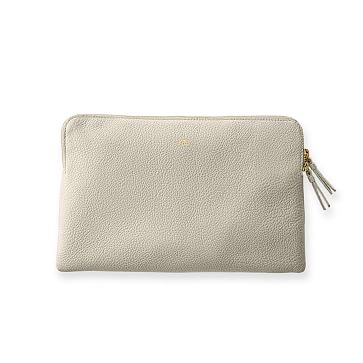 The Daily Zip Pouch, Leather, Stone