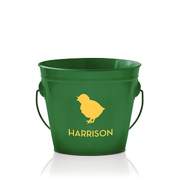 Enamel Bucket, Personalized, Kelly Green