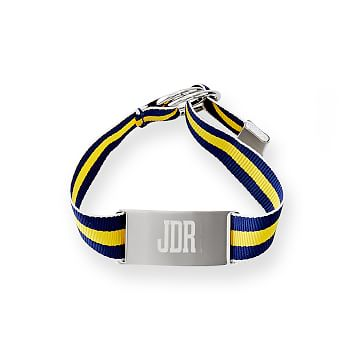 Grosgrain ID Bracelet, 9 inches, Navy and Yellow