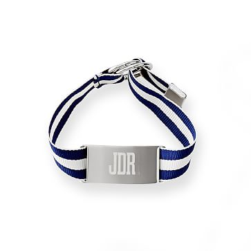 Grosgrain ID Bracelet, 9 inches, Navy and White