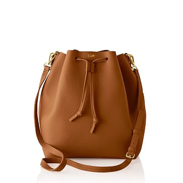 The Daily Bucket Bag, Leather, Camel