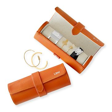 Travel Jewelry Storage Roll, Orange