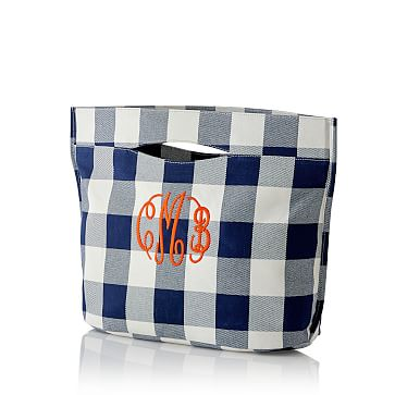 Modern Pool Tote, Navy Gingham