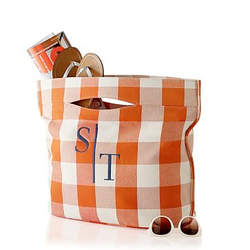Modern Pool Tote, Orange Gingham