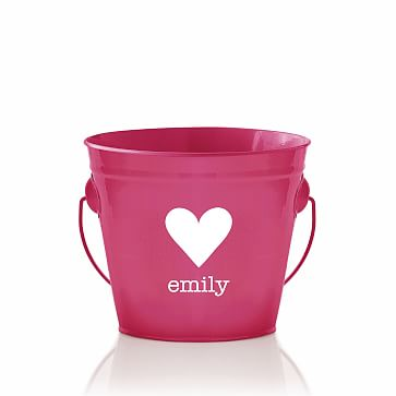 Enamel Bucket, Personalized, Pink