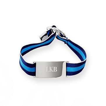 Grosgrain ID Bracelet, 9 inches, Navy and Blue