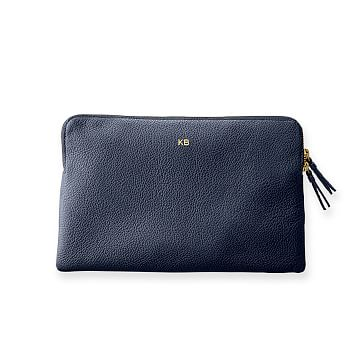 The Daily Zip Pouch, Leather, Navy