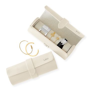 Travel Jewelry Storage Roll, White