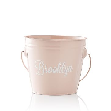 Enamel Bucket, Pale Pink, Personalized