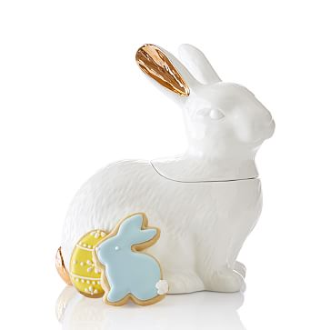 Bunny Cookie Jar, White