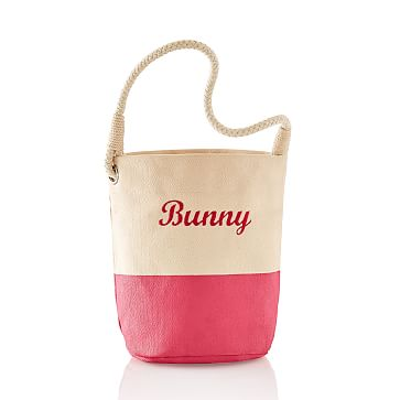 Dipped Canvas Bunny Bucket, Magenta