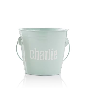 Enamel Bucket, Pale Blue, Personalized