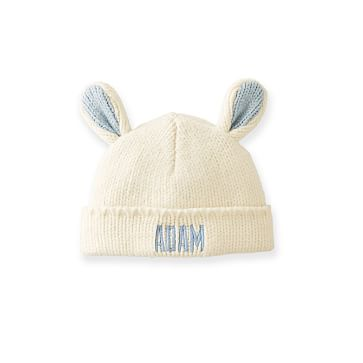 Knit Animal Hat, Bunny, One Size, Ivory and Pale Blue