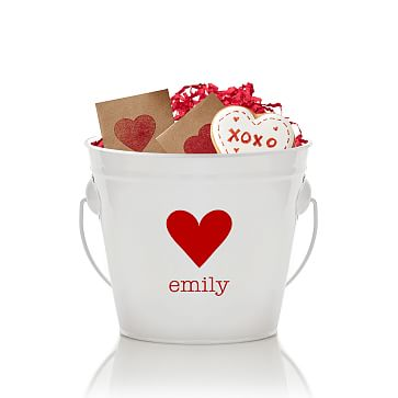Enamel Bucket, Personalized, White