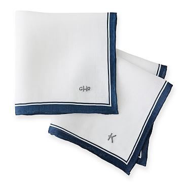 Linen Handkerchief, White with Blue Trim