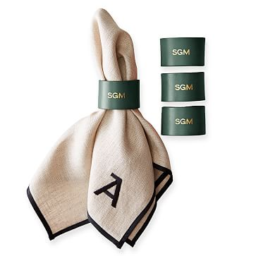 Leather Napkin Ring, Set of 4, Racing Green