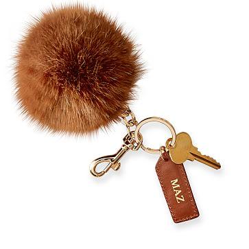 Pompom Keychain, Chestnut
