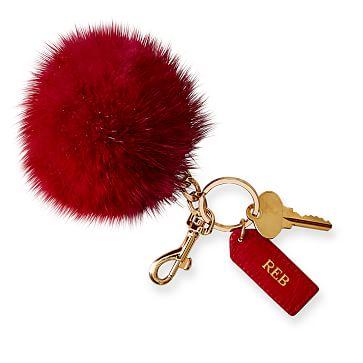 Pompom Keychain, Red