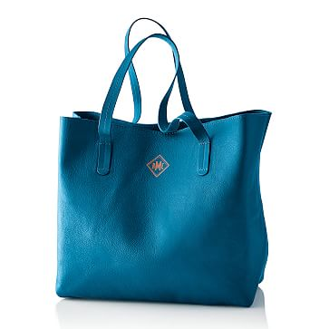 Everyday Leather Tote Bag, Porcelain Blue - Personalized