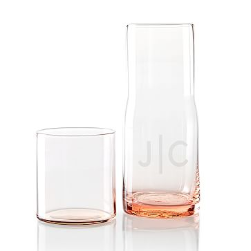 Everyday Glass Bedside Carafe, Blush