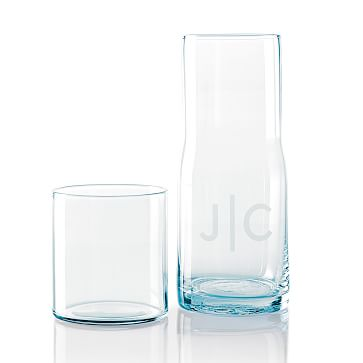 Everyday Glass Bedside Carafe, Smoky Blue