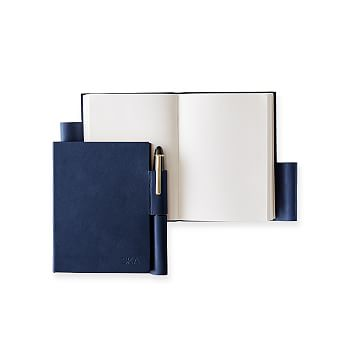 Leather Notebook with Pen Holder, Navy, Small