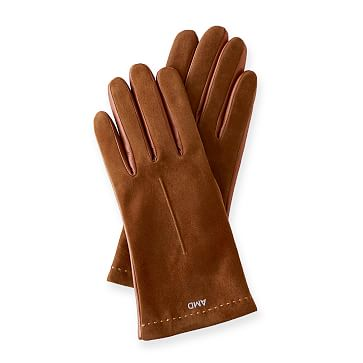 Women's Italian Classic Suede Glove, Size 6.5, Saddle