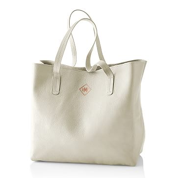 Everyday Leather Tote Bag, Ivory - Personalized