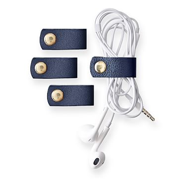 Leather Cord Organizer, Set of 4, Navy
