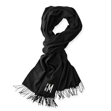 Blanket Scarf with Fringe, Solid Black