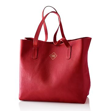Everyday Leather Tote Bag, Red - Personalized