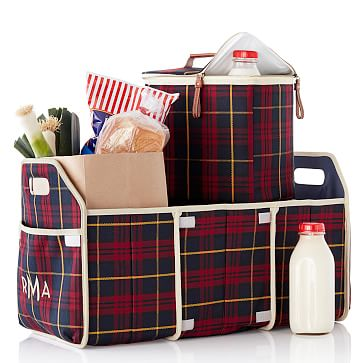 2-in-1 Car Organizer, Red Plaid