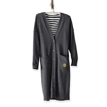 Long Cozy Cardigan, Charcoal, Extra Large