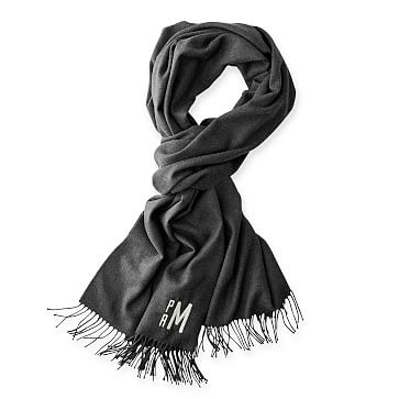 Blanket Scarf with Fringe, Solid Charcoal