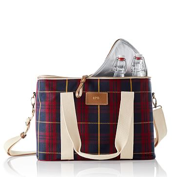 Travel Ice Cooler, Red Plaid