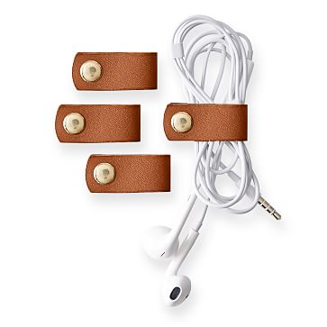 Leather Cord Organizer, Set of 4, Camel
