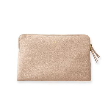 The Daily Zip Pouch, Leather, Blush