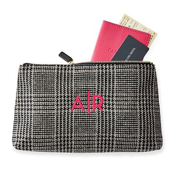 Houndstooth Zip Clutch, Black and Grey