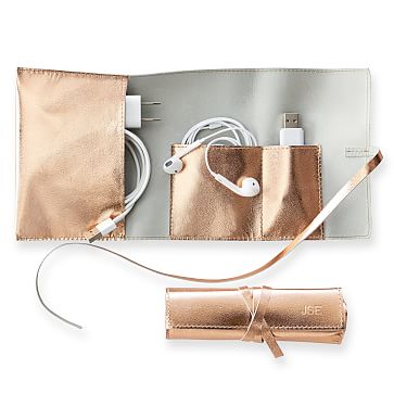 Leather Charger Roll Up, Gold
