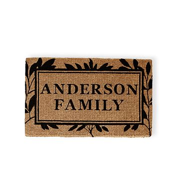 Personalized Doormat, Personalized, Foliage, Black