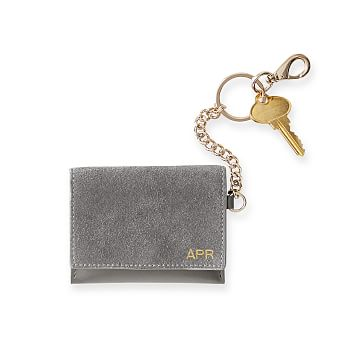 Suede Skinny Card Case, Pewter