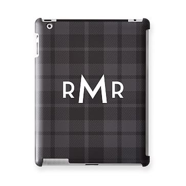 Pattern iPad Case, Grey and Black Plaid