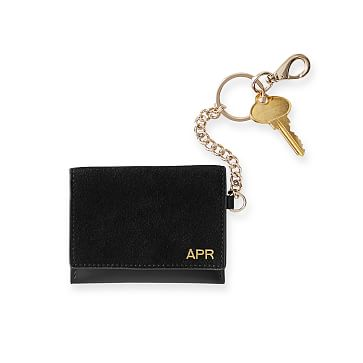 Suede Skinny Card Case, Black