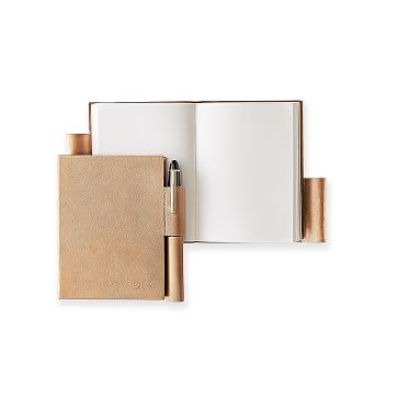 Leather Notebook with Pen Holder, Copper, Small