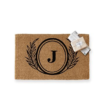 Personalized Doormat, Monogrammed 1 Letter, Wheat, Black
