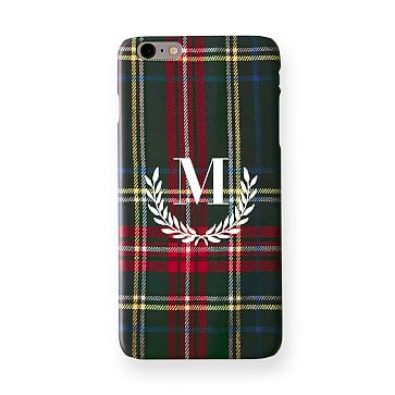 Pattern iPhone 6+ Case, Black Preppy Plaid